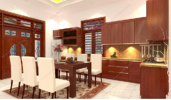 Nội thất phòng bếp màu cánh gián ấm cúng