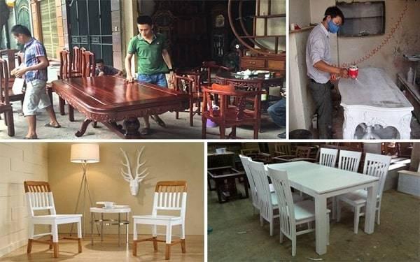 Thợ mộc phun sơn, đánh vecni đồ gỗ tại nhà